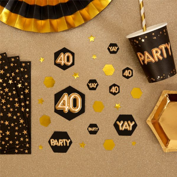Glitz & Glamour Black & Gold Confetti Scatters 40th (100)
